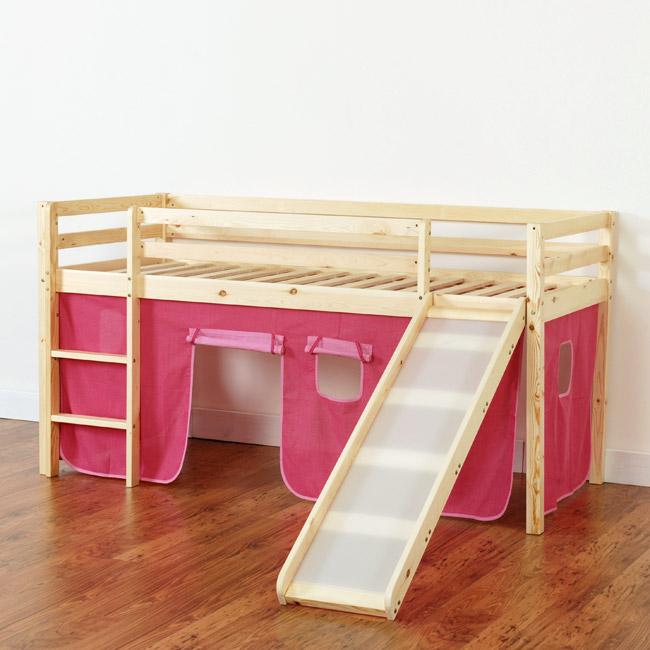 Hochbett mit Rutsche Hochbett Kinderbett Bett Lattenrost u ...