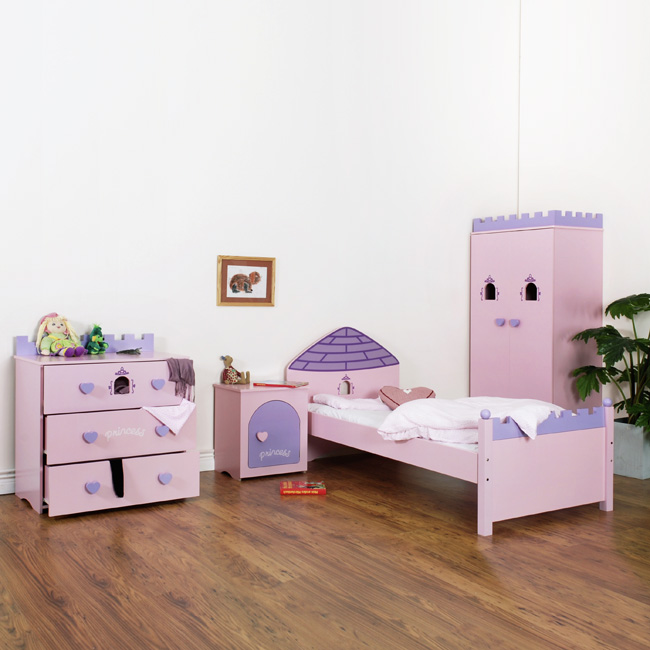 kinderzimmer princess rosa komplett bett schrank kommode. Black Bedroom Furniture Sets. Home Design Ideas